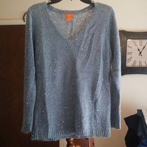 EUC Light blue sequin v-neck sweater